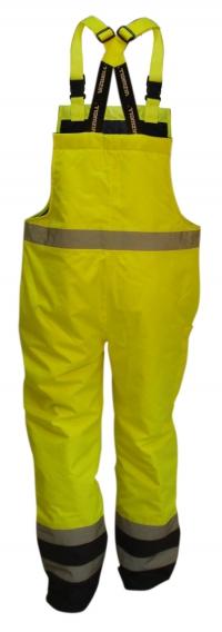Spodnie robocze na elastycznych szelkach, z grubą podszewką, ostrzegawcze o intensywnej widzialności, w dwóch kontrastowych kolorach