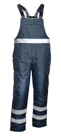 Spodnie robocze na elastycznych szelkach, z grubą podszewką, z elementami odblaskowymi, granatowe