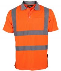 Koszulka polo przewiewna, ostrzegawcza o intensywnej widzialności z taśmami odblaskowymi na ramionach