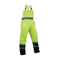 Spodnie robocze na szelkach ostrzegawcze o intensywnej widzialności w kontrastowych kolorach