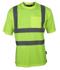 T-shirt przewiewny, ostrzegawczy o intensywnej widzialności z taśmami odblaskowymi na ramionach