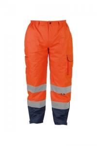 Spodnie robocze ostrzegawcze o intensywnej widzialności, z poliestru typu OXFORD 300D, z grubą podszewką, w dwóch kontrastowych kolorach