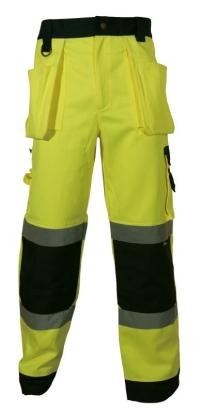 Spodnie robocze ostrzegawcze o intensywnej widzialności, w kontrastowych kolorach