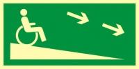 Zjazd ewakuacyjny na niższą kondygnację dla niepełnosprawnych w prawo